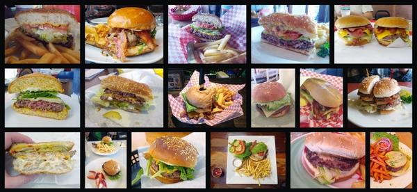 A sampling of Burbank burgers, from left (top row): Fantasia Billiards, Granville Caf, Champs, DeBell Golf Course, Apollo Char-Burger; (middle row): Not a Burger Stand, Rocky's III, Tinhorn Flats, Peacha's, Norm's, Bob's Big Boy; (bottom row): Willie's Grill, Caf Victory, Moores Delicatessen, Mo's, The Great Grill, Burbank Bar and Grille.