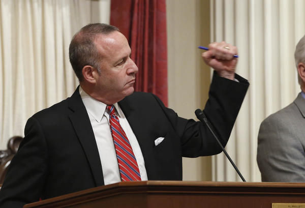 State Senate President Pro Tem Darrell Steinberg (D-Sacramento) pumps his fist in celebration after the Senate completed voting on the remaining pieces of the state budget plan in June.