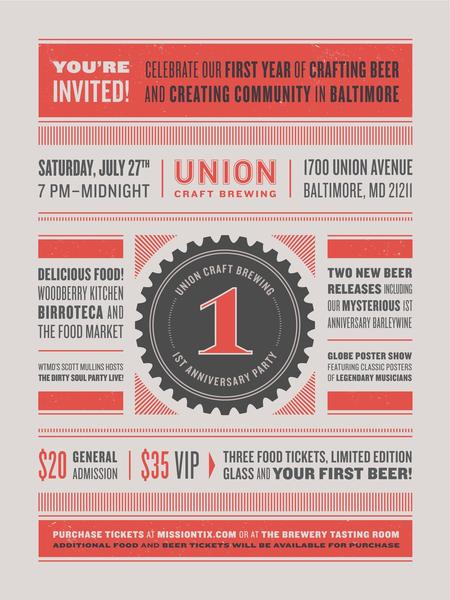 The flyer announcing Union Craft Brewing's party later this month.