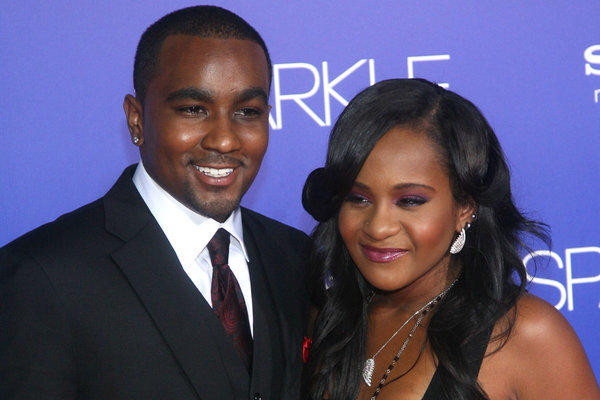 "Nick Gordon and Bobbi Kristina Brown at the premiere of ""Sparkle"" in Hollywood last year."