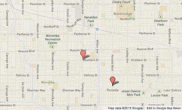 Approximate locations, shown in red, where two suspects first robbed a marijuana dispensary and later had a shootout with police at Tampa Avenue and Strathern Street.
