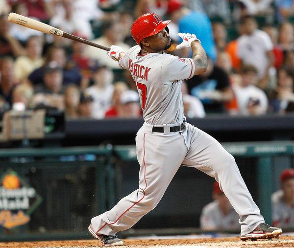 Angels second baseman Howie Kendrick follow through on a triple against the Astros in a game last week in Houston.