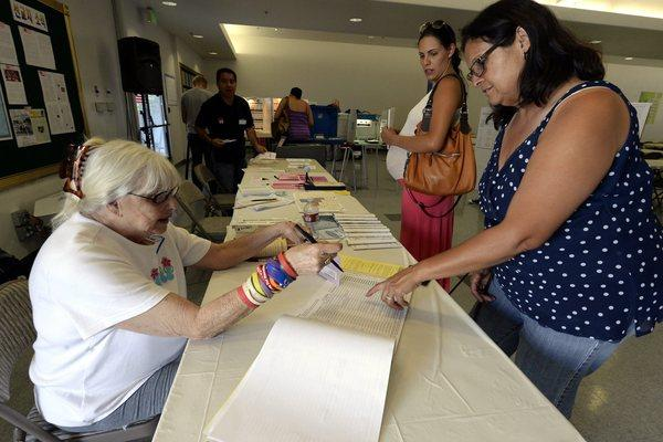 Voters cast ballots in mayoral run-off election in San Fernando Valley