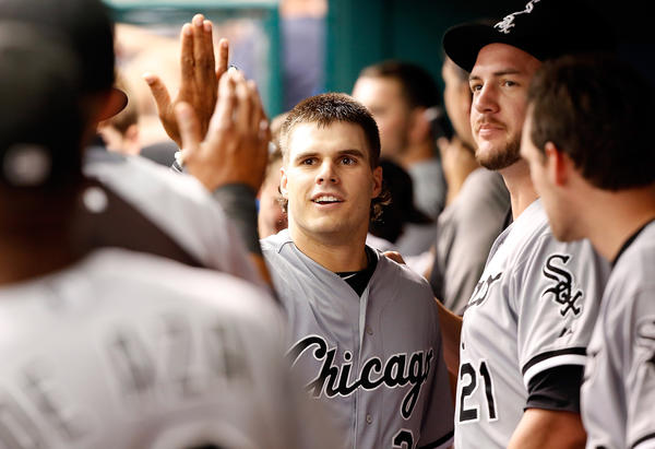White Sox catcher Josh Phegley celebrates his first major league home run against Tampa Bay on July 7. (Getty Images)