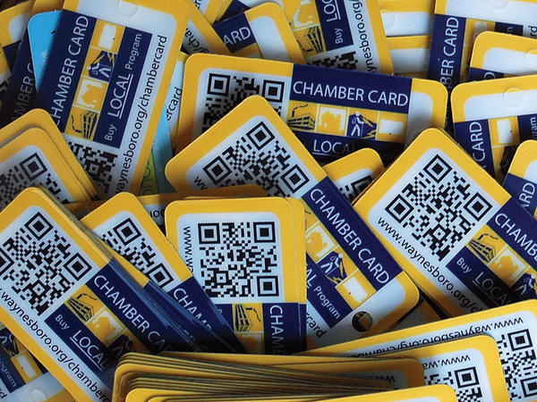 The Waynesboro (Pa.) Area Chamber of Chamber is handing out keychain cards to be presented at area businesses. Deals currently on the card can be found at www.waynesboro.org/chambercard.