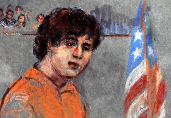 Dzhokhar Tsarnaev is depicted during his arraignment in federal court in Boston. He pleaded not guilty to 30 charges in the Boston Marathon bombings, 17 of which could result in the death penalty or life in prison.