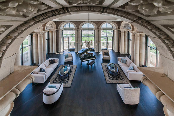 Birds-eye view of the living room.