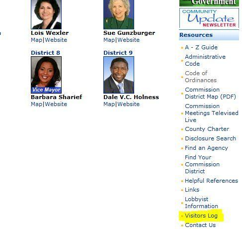 """It can be hard to find the Broward lobbying log mandated by the Code of Ethics. Here it is on the """"Commission'' page of broward.org"""