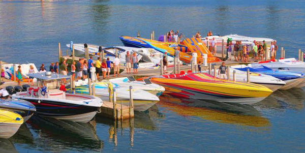 High performance boat s will be docked in Boyne City as owners prepare to participate in the Boyne Thunder Poker Run on a 120-mile course in both Lake Charlevoix and Lake Michigan.