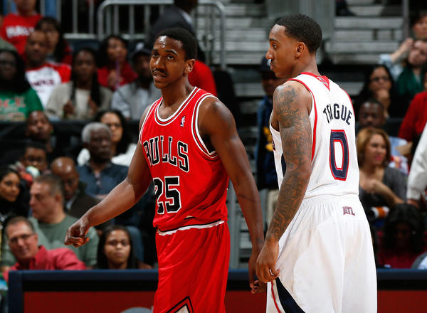 The Hawks' Jeff Teague defends against Marquis Teague.