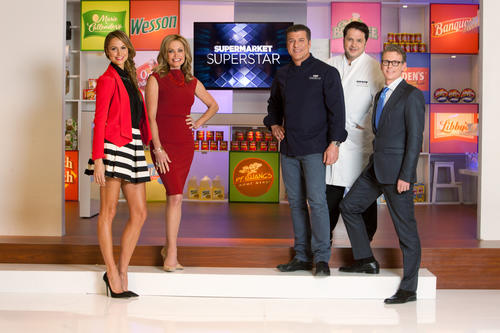 "(L to R) Stacy Keibler, Debbi Fields, Michael Chiarello, Andrew Hunter and Chris Cornyn star in ""Supermarket Superstar."""