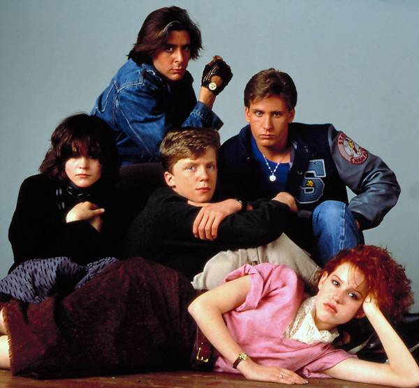 BREAKFAST CLUB, (clockwise from top) Judd Nelson, Emilio Estevez, (center) Anthony Michael Hall, (lying down) Molly Ringwald, (left) Ally Sheedy, 1985