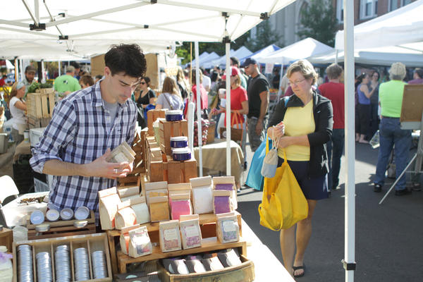 Along with vendors selling produce, flowers and home goods, Logan Square Farmers Market also welcomes Koval Distillery.