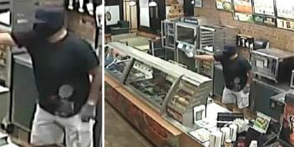 A masked, armed man with a gun robbed a Subway restaurant Monday night.