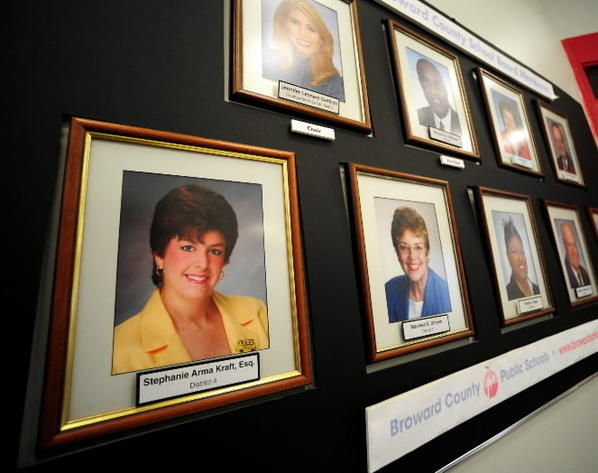 Former Broward School Board member Stephanie Kraft's photo no longer hangs at the Broward School Board building in Fort Lauderdale.