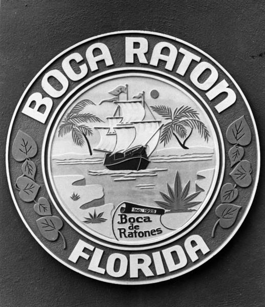 "Boca Raton's city seal shows the ""jagged inlet"" for which the latest research shows the city is named."