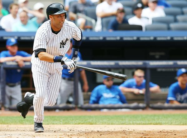 Derek Jeter runs out his hit in the fifth inning against the Royals.
