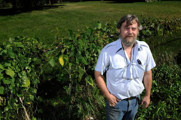 Wayne Sabaj, in his garden in McHenry, September 8 2011, where he found about $150,000.