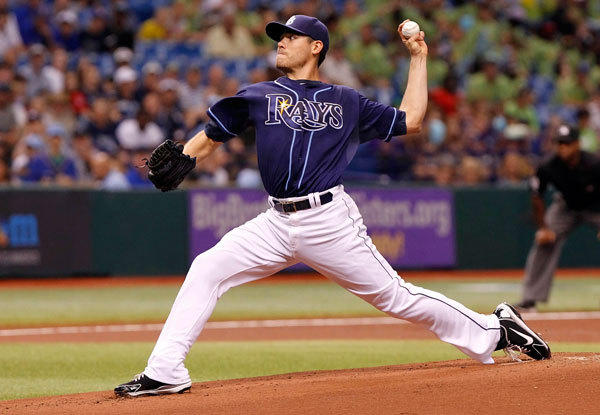 Tampa Bay Rays starting pitcher Matt Moore (55) throws a pitch during the first inning against the Minnesota Twins Tropicana Field.