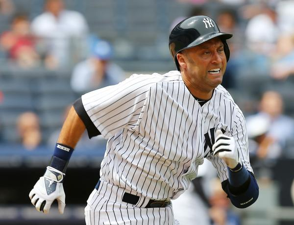 NEW YORK, NY - JULY 11: Derek Jeter #2 of the New York Yankees runs to first in the fourth inning against the Kansas City Royals on July11,2013 at Yankee Stadium in the Bronx borough of New York City. (Photo by Elsa/Getty Images) ORG XMIT: 163494519