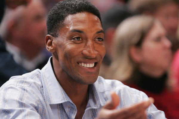 Former Chicago Bulls player Scottie Pippen cheers on from his seat during a game against the New York Knicks. Witnesses said that a fight occurred between Pippen and an intoxicated man at Nobu Malibu, deputies say.