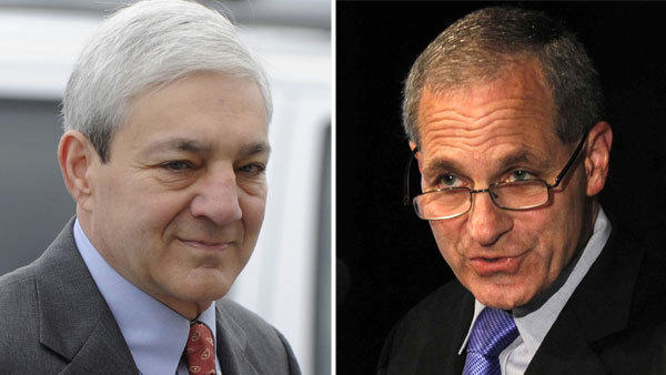 Former Penn State President Graham Spanier, left, is suing Louis Freeh, right, author of the Freeh Report.