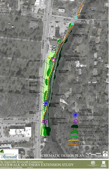 Preliminary sketches of a proposed Riverwalk extension call for features like rain gardens, a pedestrian bridge, seating areas and informational signs.