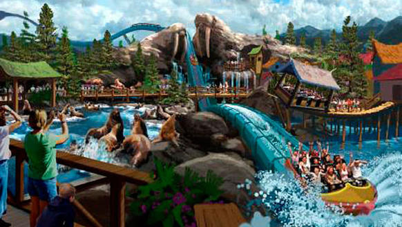 An artist's rendering of Ocean Kingdom shows a SuperSplash water ride descending between giant walrus-shaped rock sculptures.