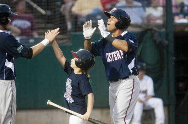 Javier Herrera of the Richmond Giants celebrates at home plate after hitting a three-run home run to start things off for the Western Division in the first inning of the Eastern League All Star Game at New Britain Stadium on Wednesday.