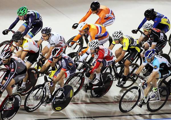 Riders in a tight pack in the last race of the night as the US Grand Prix kicks off the 2013 World Series of Bicycling international professional races at the Valley Preferred Cycling Center in Trexlertown on Saturday, June 8, 2013.