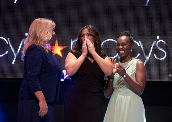 Dorina Sackman, of Orange County, reacts as she was named teacher of the year, Thursday, July 10, 2013 at Hard Rock Live, Universal City Walk.