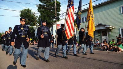 The Berlin Fife & Drum Corps was one of the first groups to march through town during the Berlin Block Party parade on Thursday.