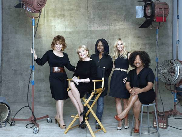 "Barbara Walters, Whoopi Goldberg, Sherri Shepherd, Elisabeth Hasselbeck and Joy Behar of ""The View."""