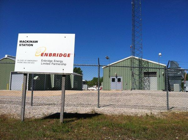 Pictured is an Enbridge station just west of Mackinaw City.