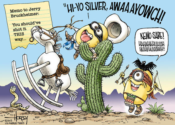 "Producer Jerry Bruckheimer might have done better to star minions in his retelling of the Old West legend ""The Lone Ranger,"" which was beaten badly at the box office by ""Despicable Me 2."""