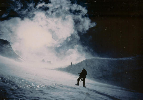This is a photo of Lou Kasischke, of Harbor Springs, climbing Mount Everest.