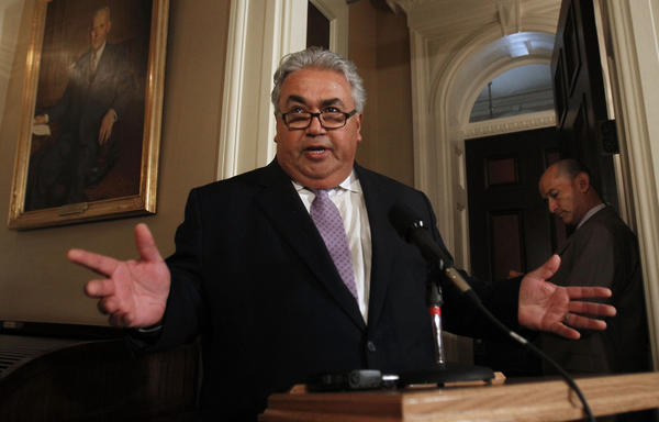State Sen. Ron Calderon holds a news conference during his first appearance at the Capitol since the FBI raided his Sacramento offices.