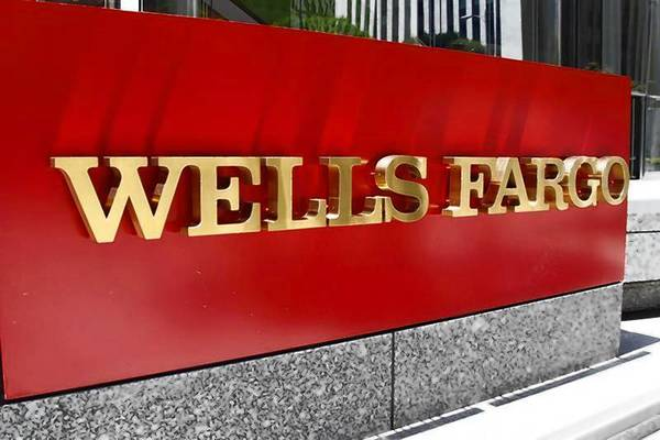 The logo for Wells Fargo bank in downtown Los Angeles.
