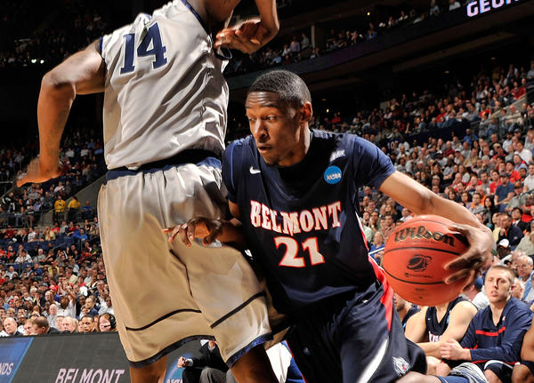 Ian Clark #21 of the Belmont Bruins drives against Henry Sims #14 of the Georgetown Hoyas in the second half during the second round of the 2012 NCAA Men's Basketball Tournament at Nationwide Arena on March 16, 2012 in Columbus, Ohio.
