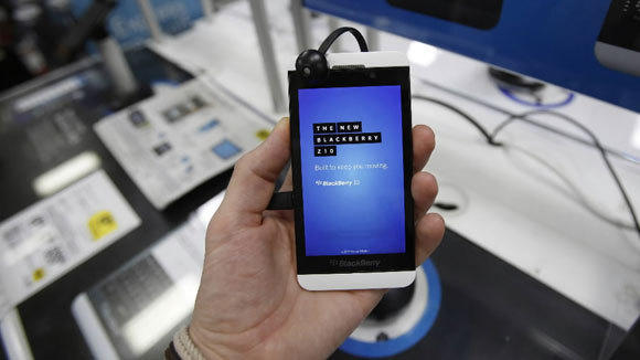A Blackberry Z10 smartphone is held up in Pasadena, Calif.