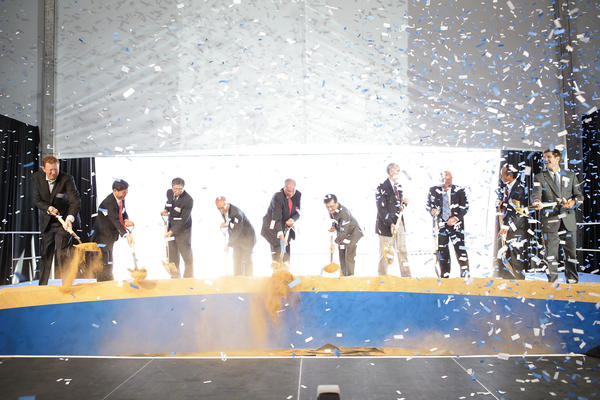 Samsung executives and local officials break ground on the company's new U.S. semiconductor headquarters in San Jose.