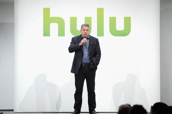 Acting CEO Andy Forssell speaks at the Hulu upfront presentation in New York.