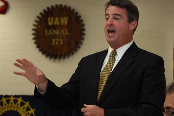 Maryland Attorney General Douglas F. Gansler, a probable 2014 gubernatorial candidate, was talking manufacturing jobs instead of litigation Friday in a meeting with labor and management at the United Auto Workers Local 171 union hall in Hagerstown.