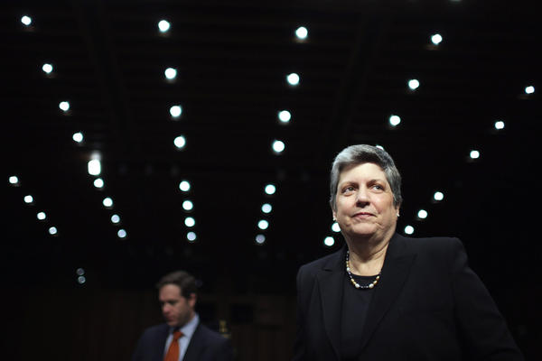 Homeland Security Secretary Janet Napolitano prepares to testify before the Senate Judiciary Committee in April.
