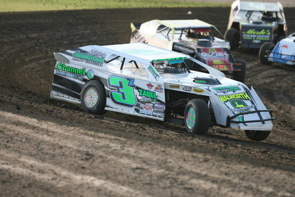 Duane Zabel of Selby (3Z) leads a Modified heat race on Friday at the Brown County Speedway. American News Photo by Ryan Deal