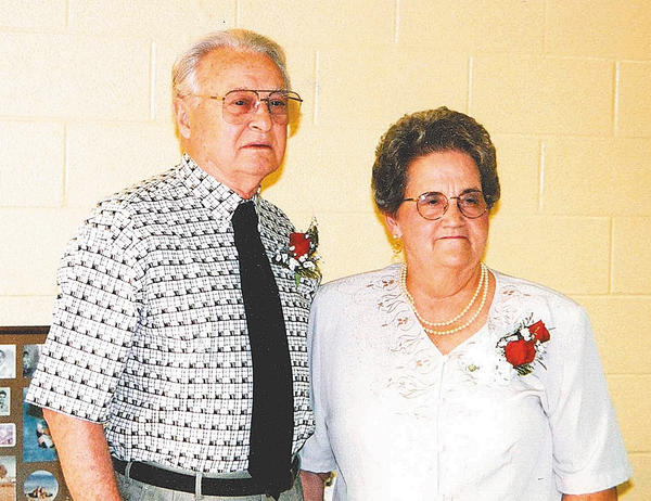 "Russell and Velma ""Carlene"" Cullison are shown in this photo taken in 1998 at the celebration of their 40th wedding anniversary."