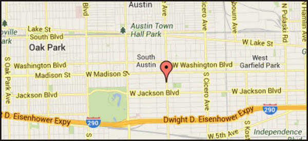 Map of the location of where an 8-year-old girl was found dead at her home in the Austin neighborhood.