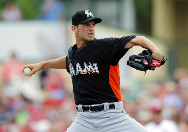 Mar 19, 2013; Jupiter, FL, USA; Miami Marlins starting pitcher Jacob Turner (33) throws in the first inning during a spring training game against St. Louis Cardinals at Roger Dean Stadium. Mandatory Credit: Steve Mitchell-USA TODAY Sports ORG XMIT: USATSI-127858