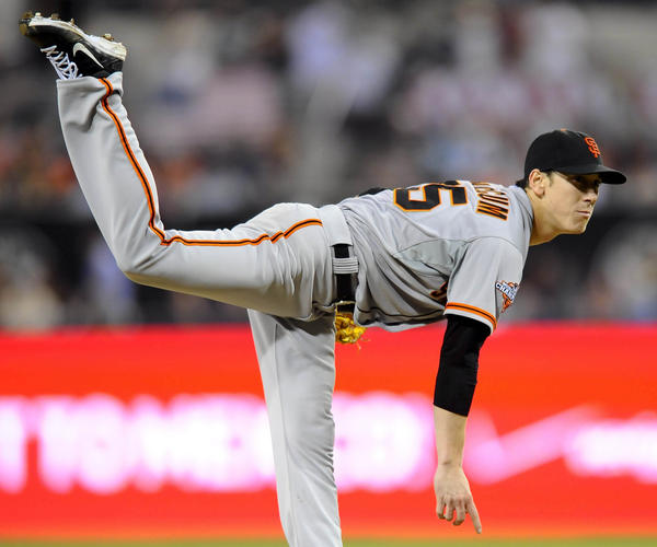 Giants starting pitcher Tim Lincecum throws during the eighth inning against the Padres at Petco Park.