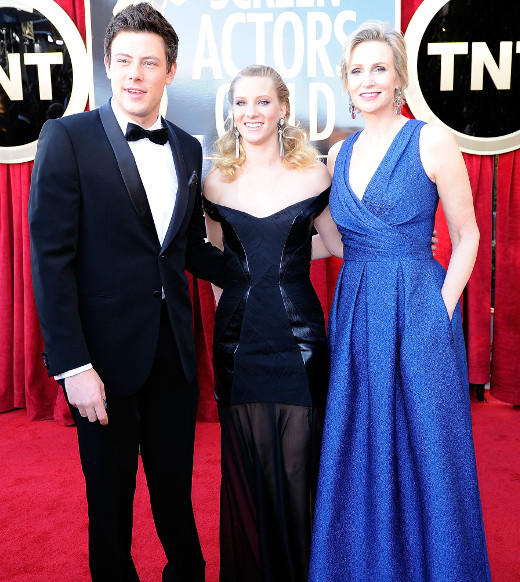"""Glee"" co-stars Cory Monteith, Heather Morris, and Jane Lynch arrive at the 18th Annual Screen Actors Guild Awards at The Shrine Auditorium on January 29, 2012 in Los Angeles, California."